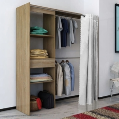 Cloth Cabinet with Curtain Adjustable in Width 121-168 cm Oak | Furniture Supplies UK