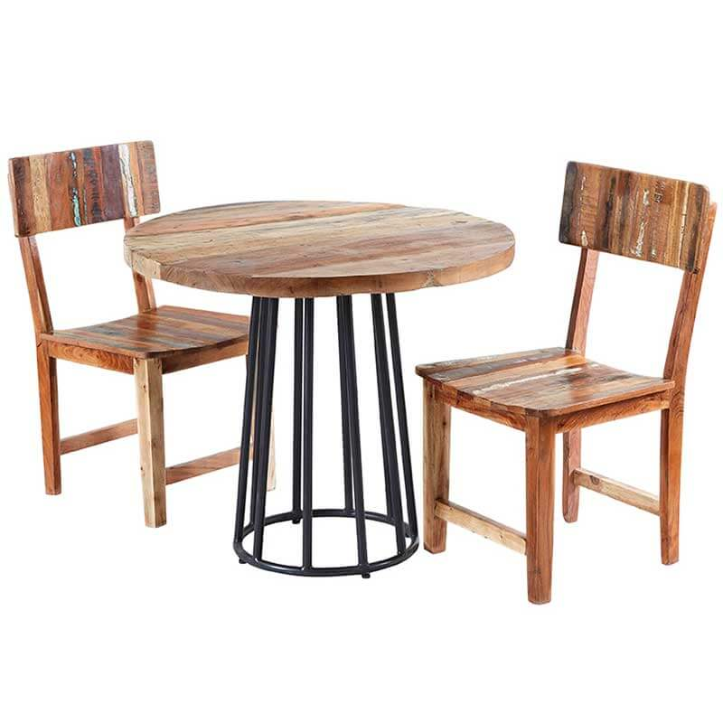 Coastal Round Dining Table With 2 Chairs | Furniture Supplies UK