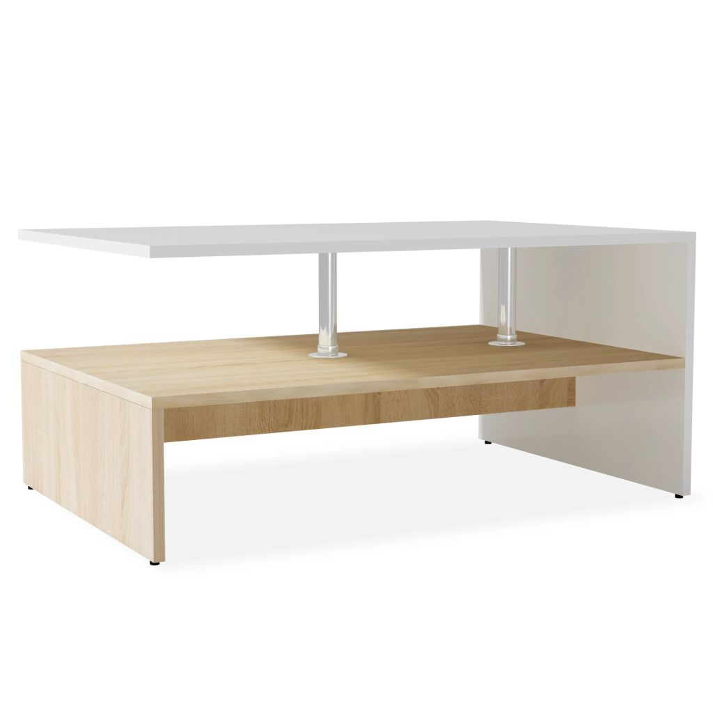 Coffee Table Chipboard 90x59x42 cm Oak and White |  | White