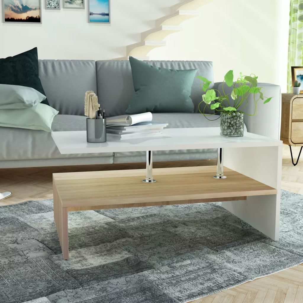Coffee Table Chipboard 90x59x42 cm Oak and White | Furniture Supplies UK