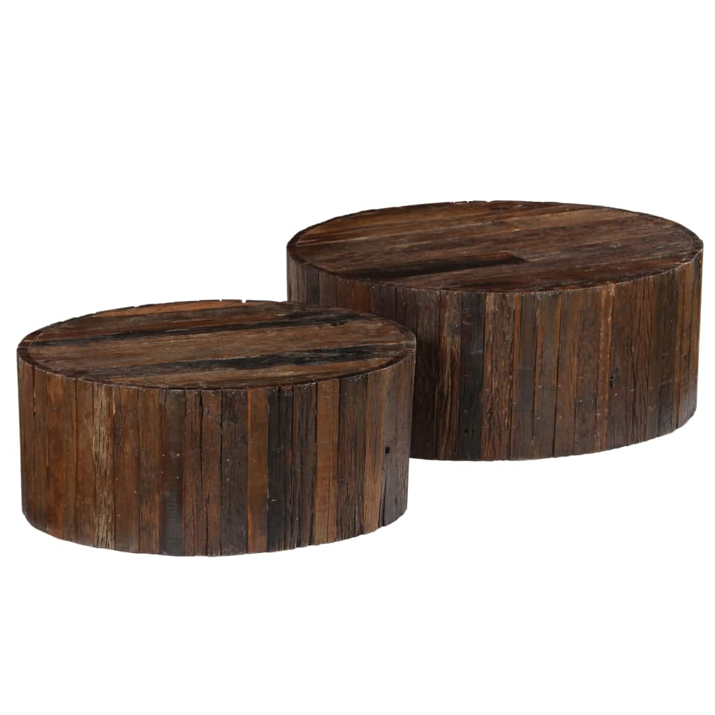 Coffee Table Set 2 Pieces Solid Reclaimed Sleeper Wood | Furniture Supplies UK
