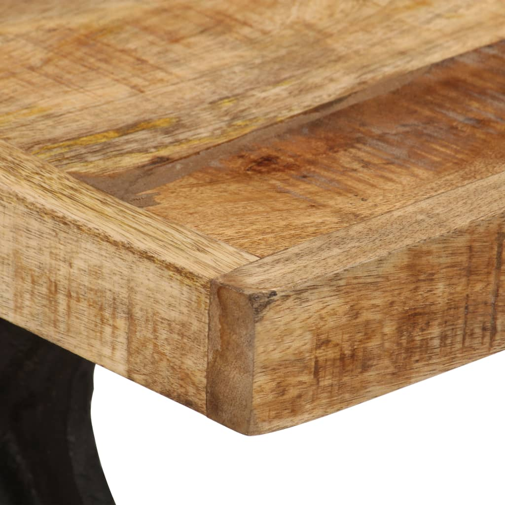 Coffee Table Solid Mango Wood and Cast Iron 110x60x47 cm