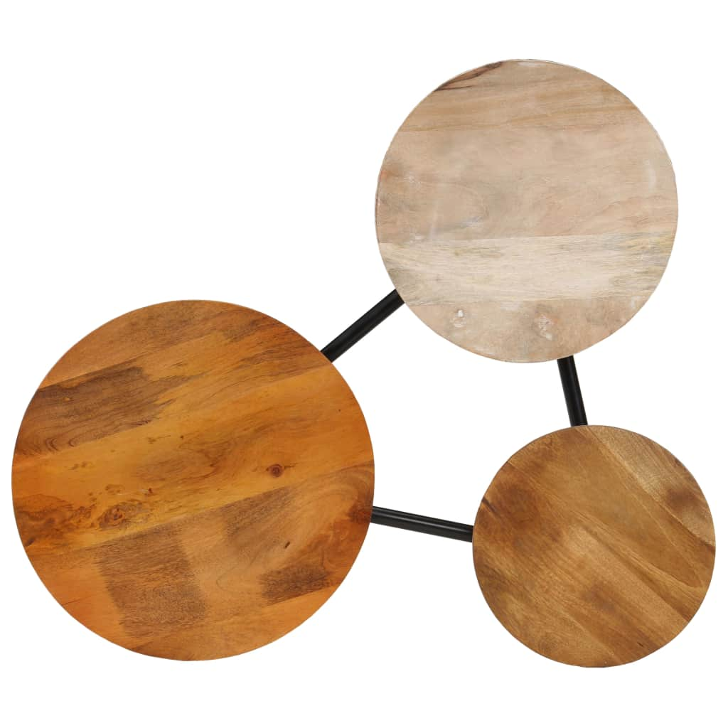 Coffee Table Solid Mango Wood and Steel 89x77x52 cm |  | Brown