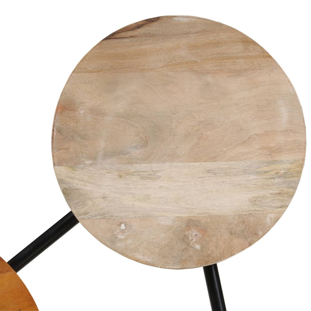 Coffee Table Solid Mango Wood and Steel 89x77x52 cm