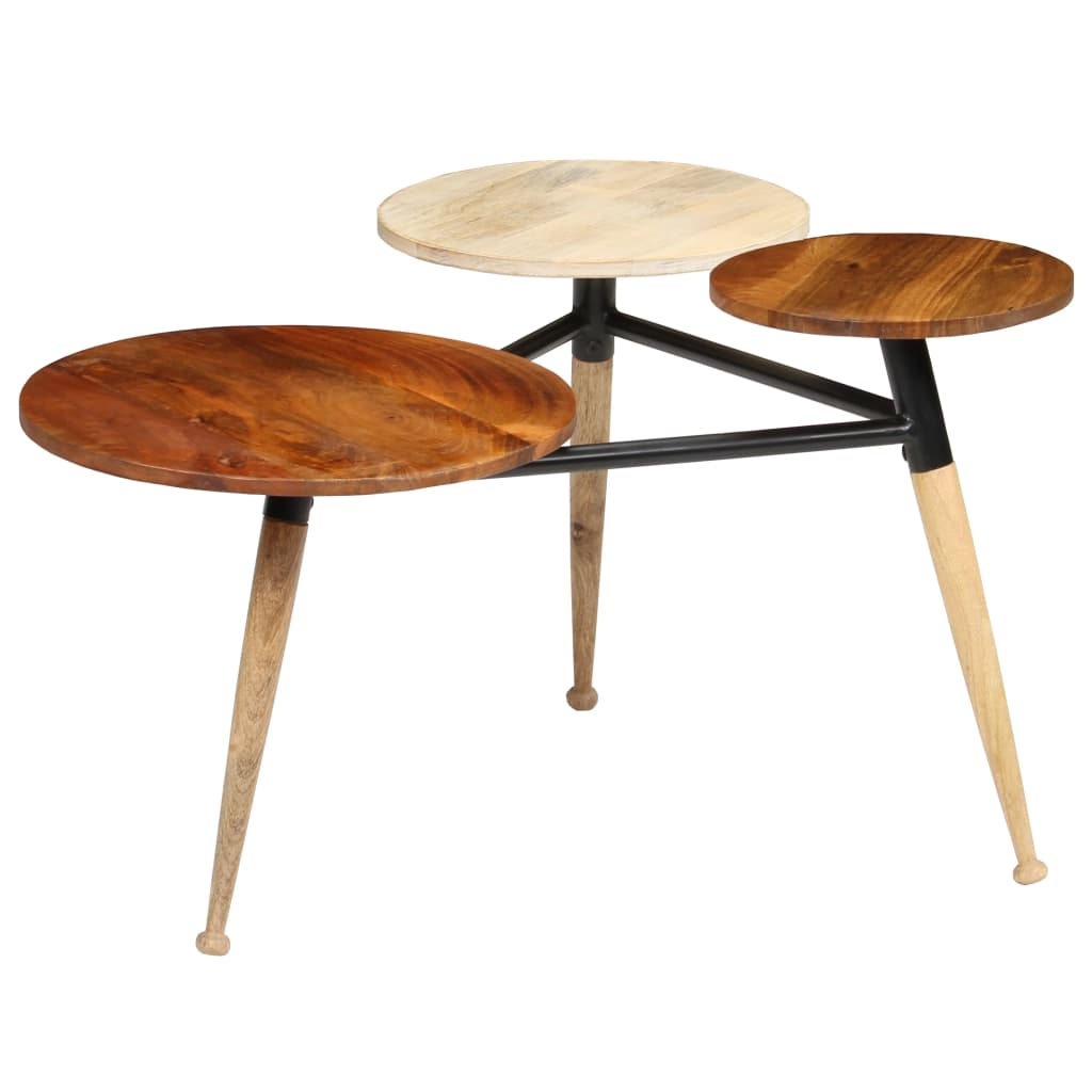 Coffee Table Solid Mango Wood and Steel 89x77x52 cm | Furniture Supplies UK