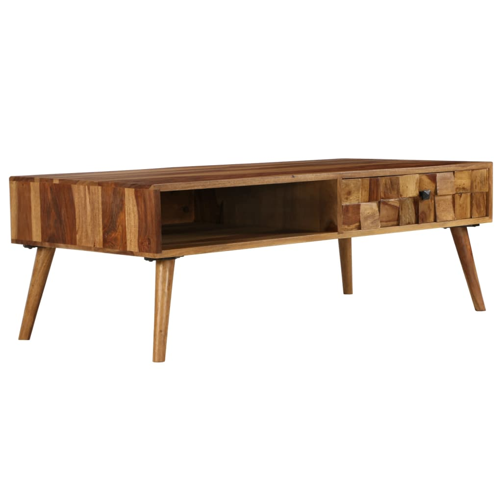 Coffee Table Solid Sheesham Wood with Honey Finish 110x50x37 cm | Furniture Supplies UK