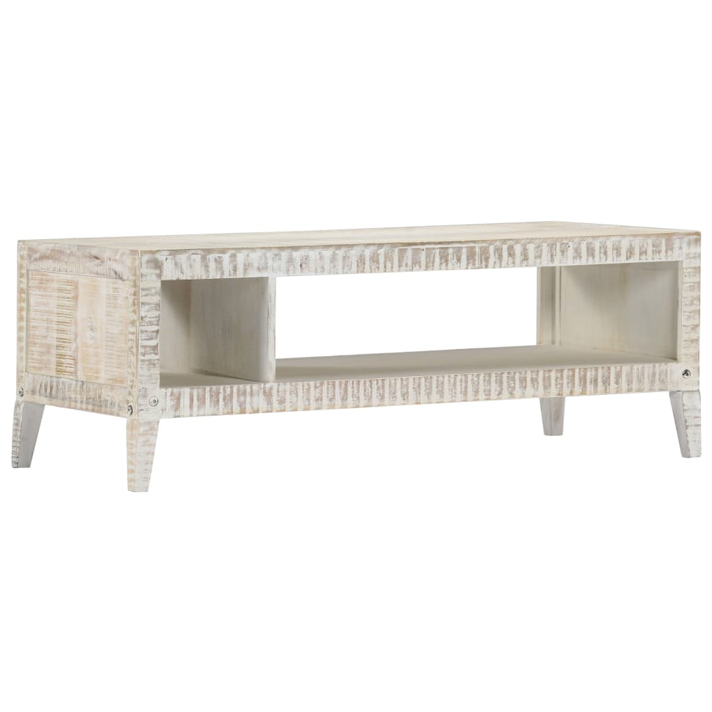 Coffee Table White 110x50x40 cm Solid Mango Wood | Furniture Supplies UK