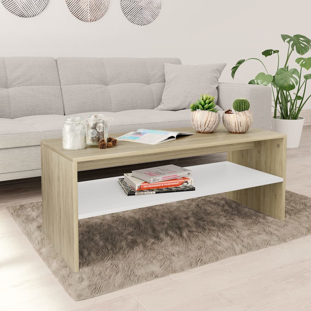 Coffee Table White and Sonoma Oak 100x40x40 cm Chipboard | Furniture Supplies UK