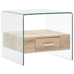 Coffee Table with Drawer 50x50x45 cm Tempered Glass | Furniture Supplies UK