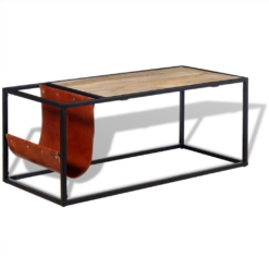 Coffee Table with Genuine Leather Magazine Holder 110x50x45 cm | Furniture Supplies UK