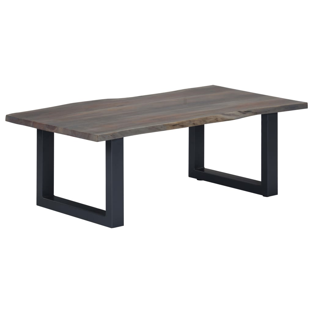 Coffee Table with Live Edges Grey 115x60x40cm Solid Acacia Wood