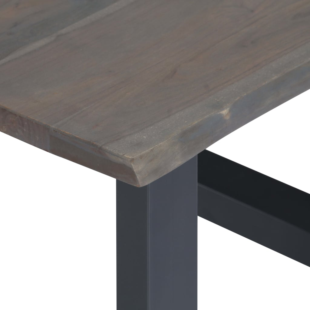 Coffee Table with Live Edges Grey 60x60x40 cm Solid Acacia Wood