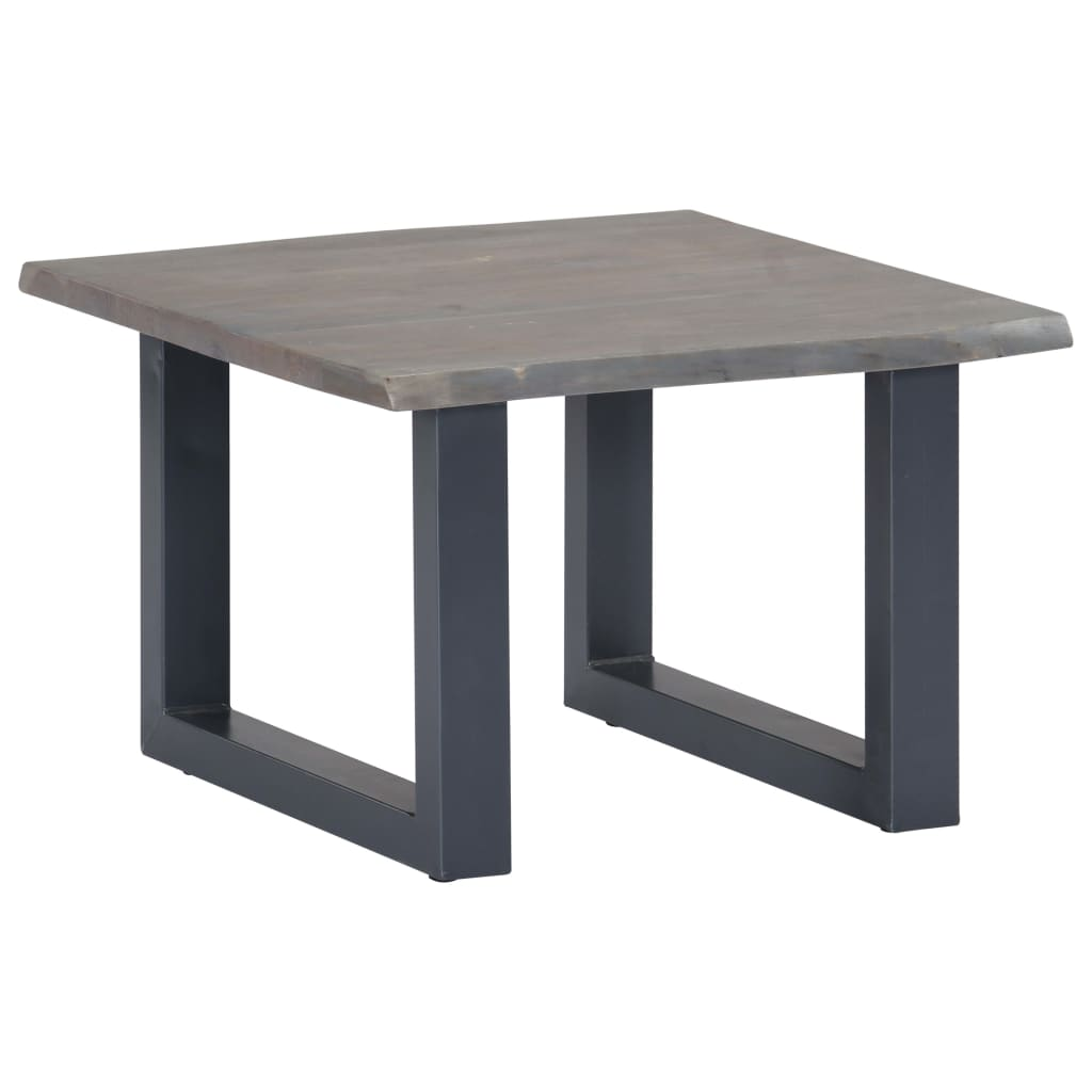 Coffee Table with Live Edges Grey 60x60x40 cm Solid Acacia Wood | Furniture Supplies UK