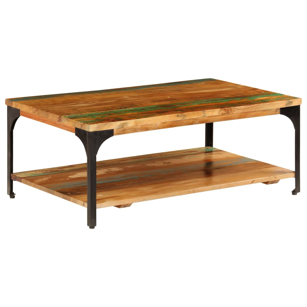 Coffee Table with Shelf 100x60x35 cm Solid Reclaimed Wood | Furniture Supplies UK