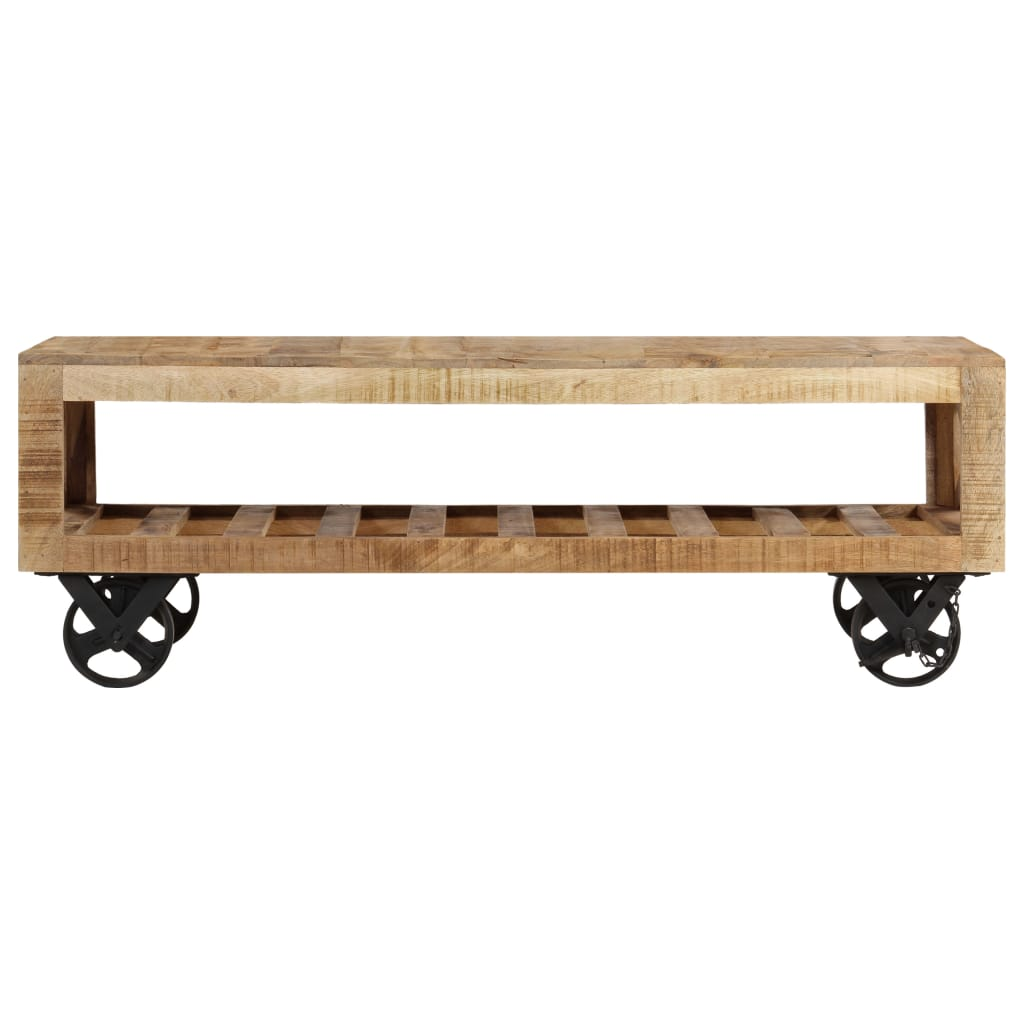 Coffee Table with Wheels Solid Mango Wood 110x50x37 cm |  | Brown