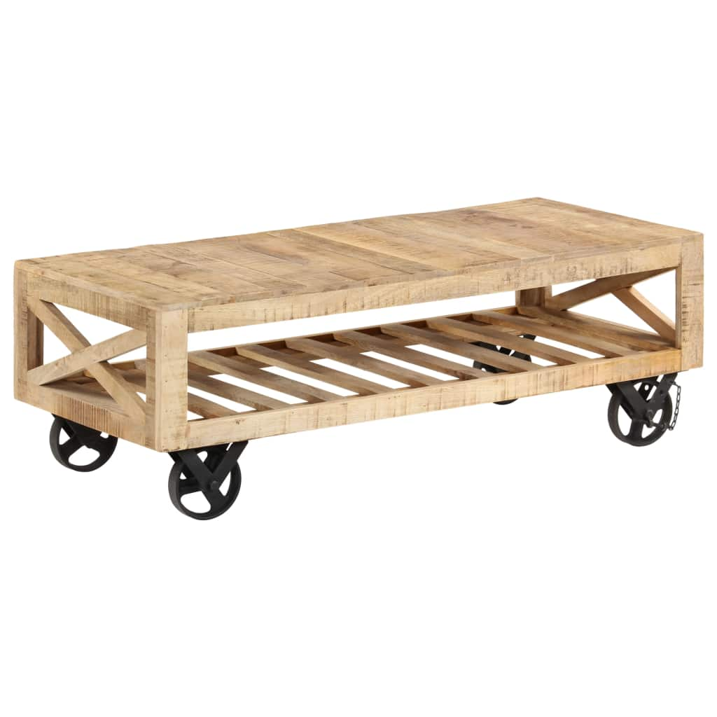 Coffee Table with Wheels Solid Mango Wood 110x50x37 cm | Furniture Supplies UK