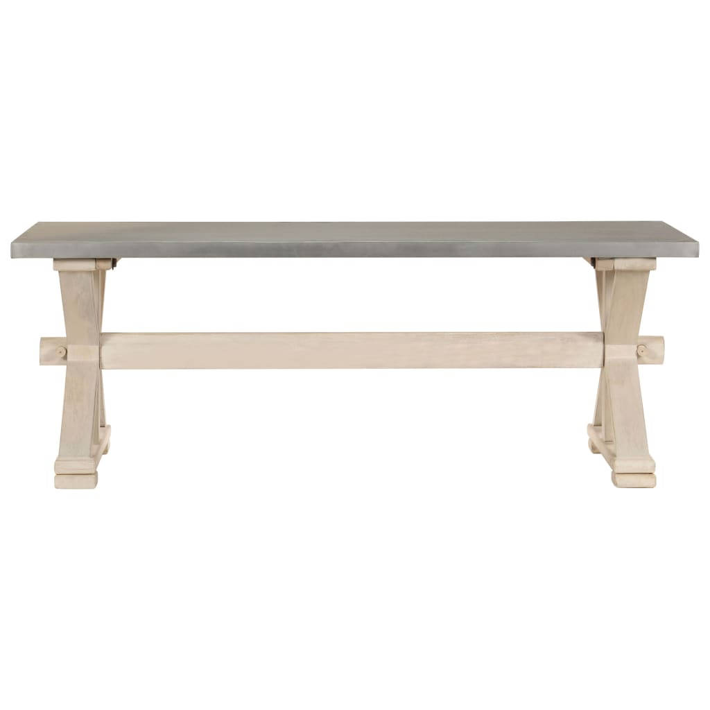 Coffee Table with Zinc Top 110x60x40 cm Solid Mango Wood |  | Brown