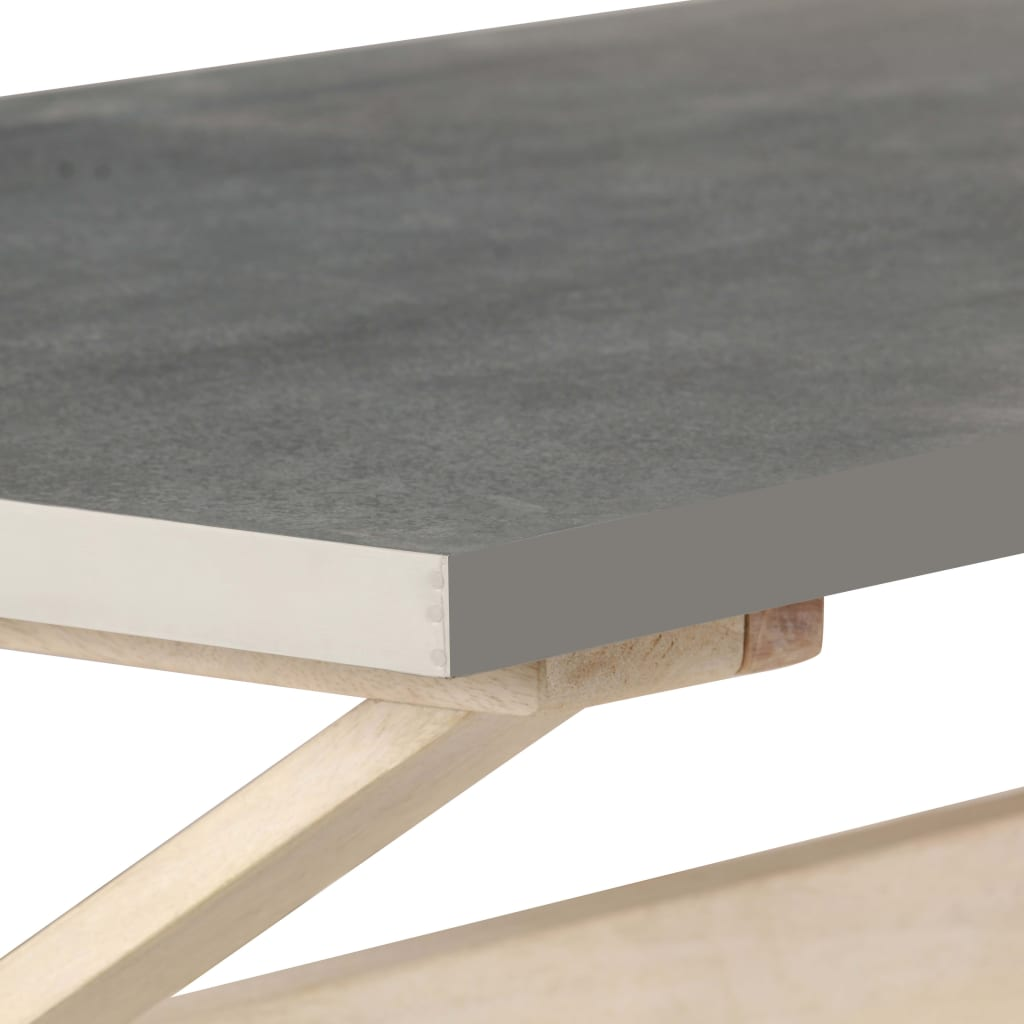 Coffee Table with Zinc Top 110x60x40 cm Solid Mango Wood