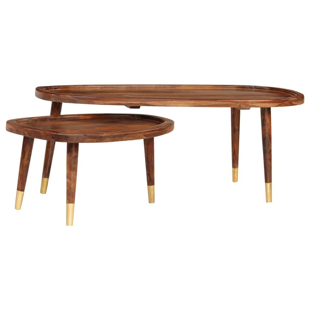 Coffee Tables 2 pcs Brown Solid Sheesham Wood |  | Brown