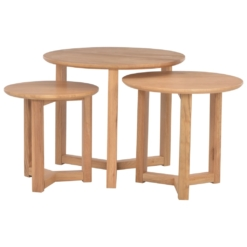 Coffee Tables Nest Of 3 pcs Solid Oak Wood | Furniture Supplies UK