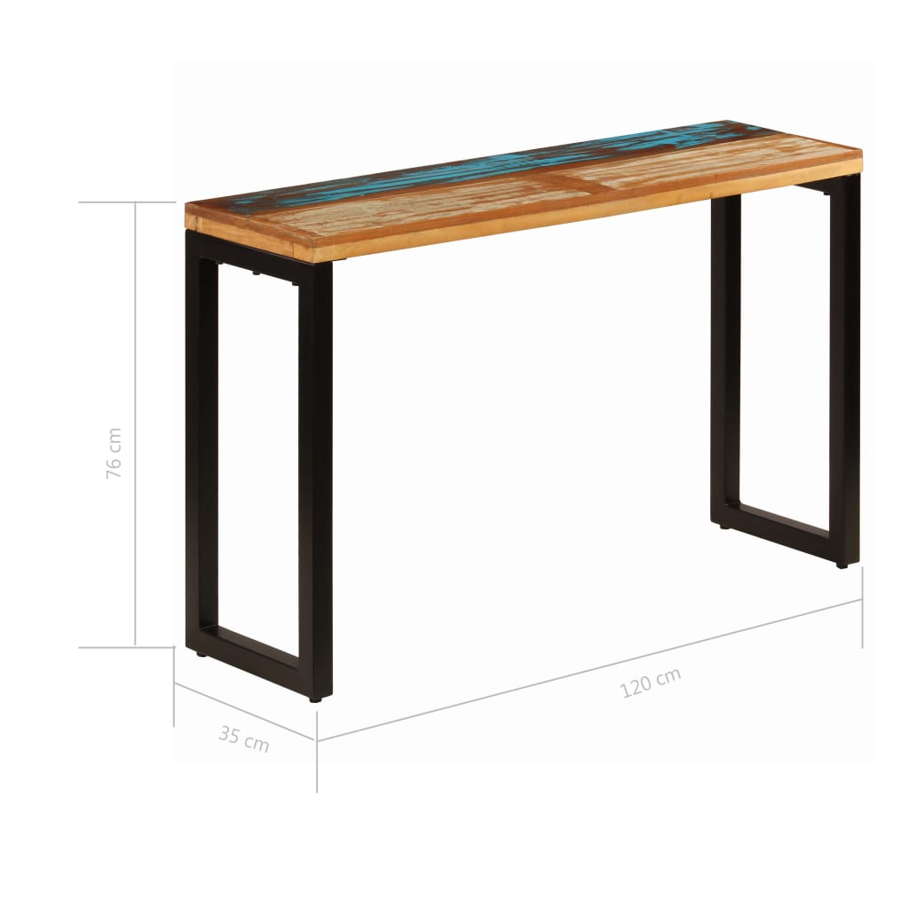 Console Table 120x35x76 cm Solid Reclaimed Wood and Steel