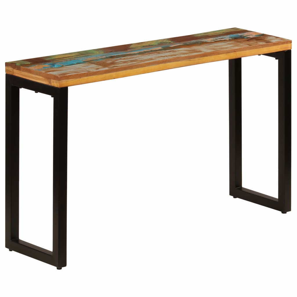Console Table 120x35x76 cm Solid Reclaimed Wood and Steel | Furniture Supplies UK