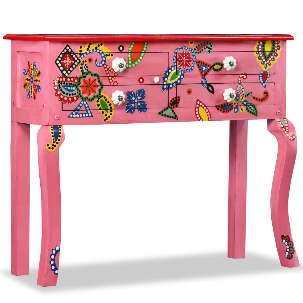 Console Table Solid Mango Wood Pink Hand Painted | Furniture Supplies UK