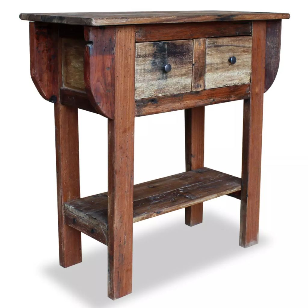 Console Table Solid Reclaimed Wood 80x35x80 cm | Furniture Supplies UK