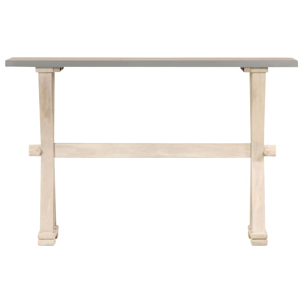 Console Table with Zinc Top 118x35x76 cm Solid Mango Wood      Brown