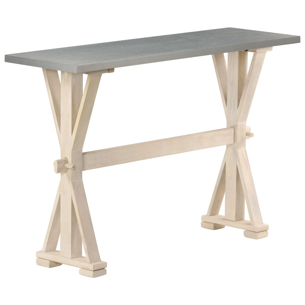 Console Table with Zinc Top 118x35x76 cm Solid Mango Wood   Furniture Supplies UK
