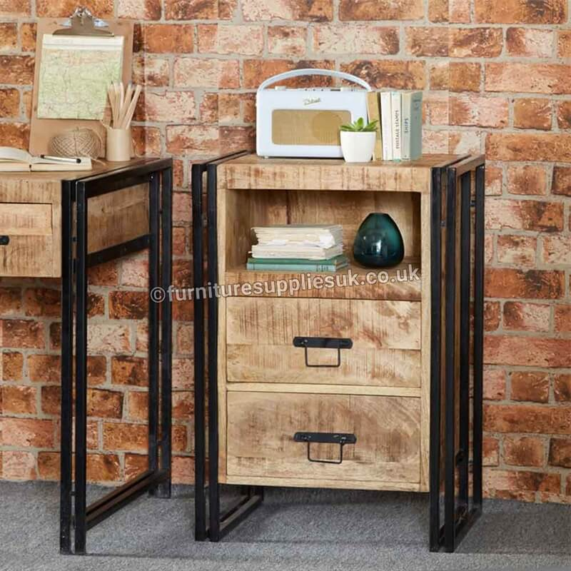 Cosmo Industrial 2 Drawer Side Table /Chest | Solid Wood |