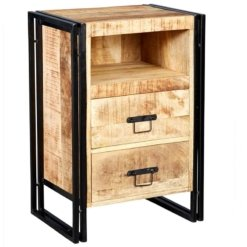 Cosmo Industrial 2 Drawer Side Table /Chest | Furniture Supplies UK
