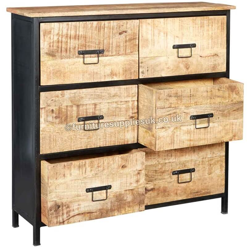 Cosmo Industrial 6 Drawer Chest | Solid Wood |