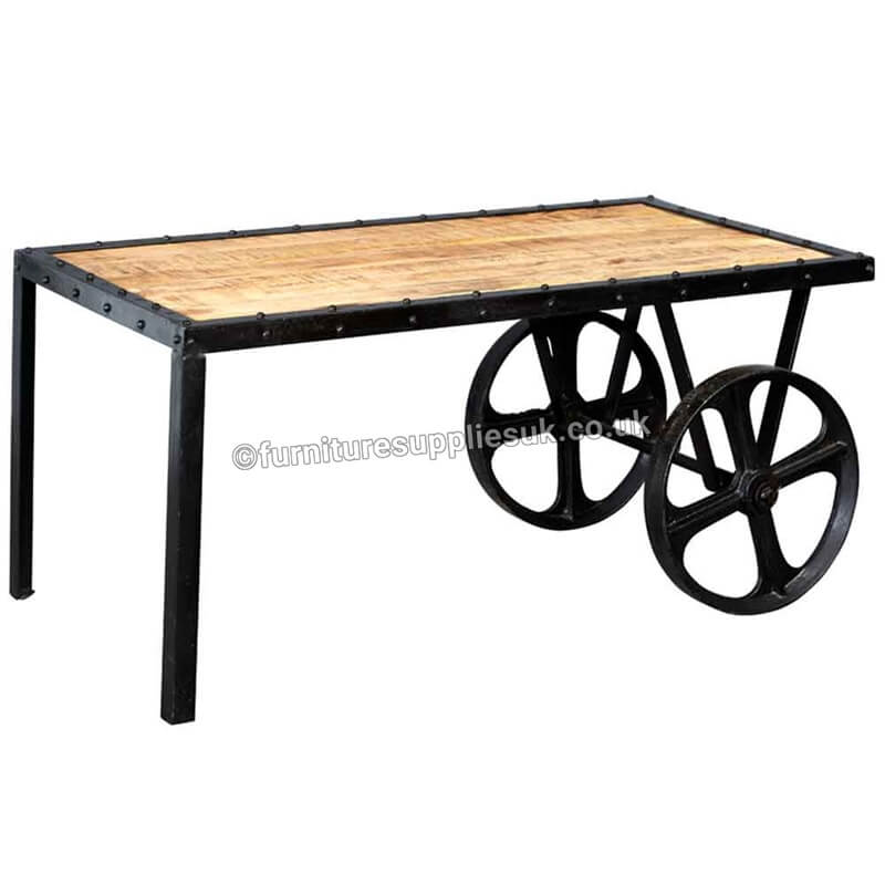 Cosmo Industrial Cart Coffee Table | Solid Wood |