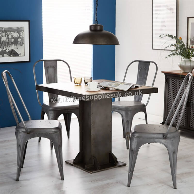 Cosmo Industrial Grey Metal Chair x1 | Solid Wood |