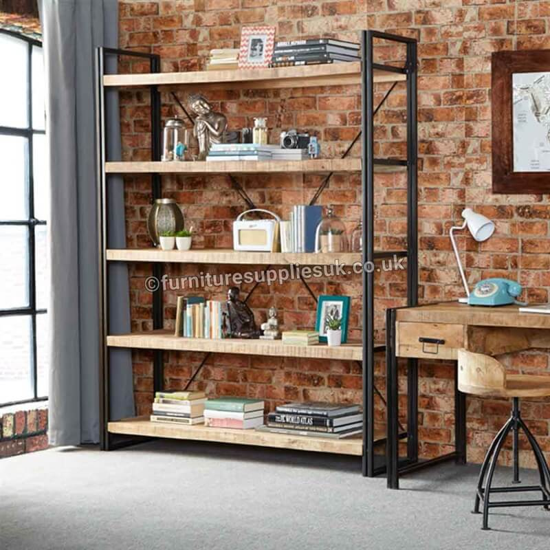 Cosmo Industrial Large Open Bookcase | Solid Wood |