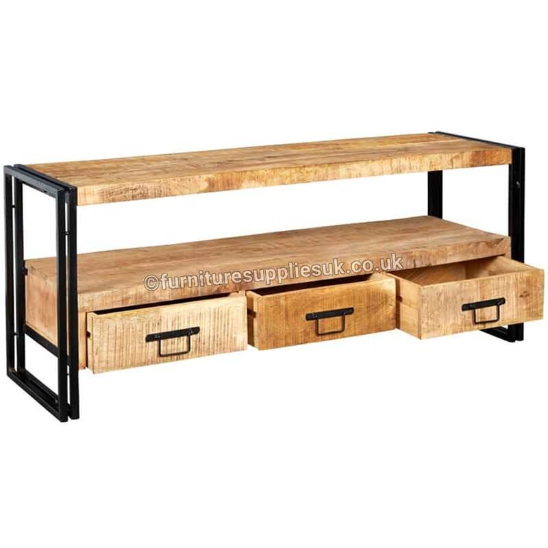Cosmo Industrial Large Plasma Stand | Solid Wood |