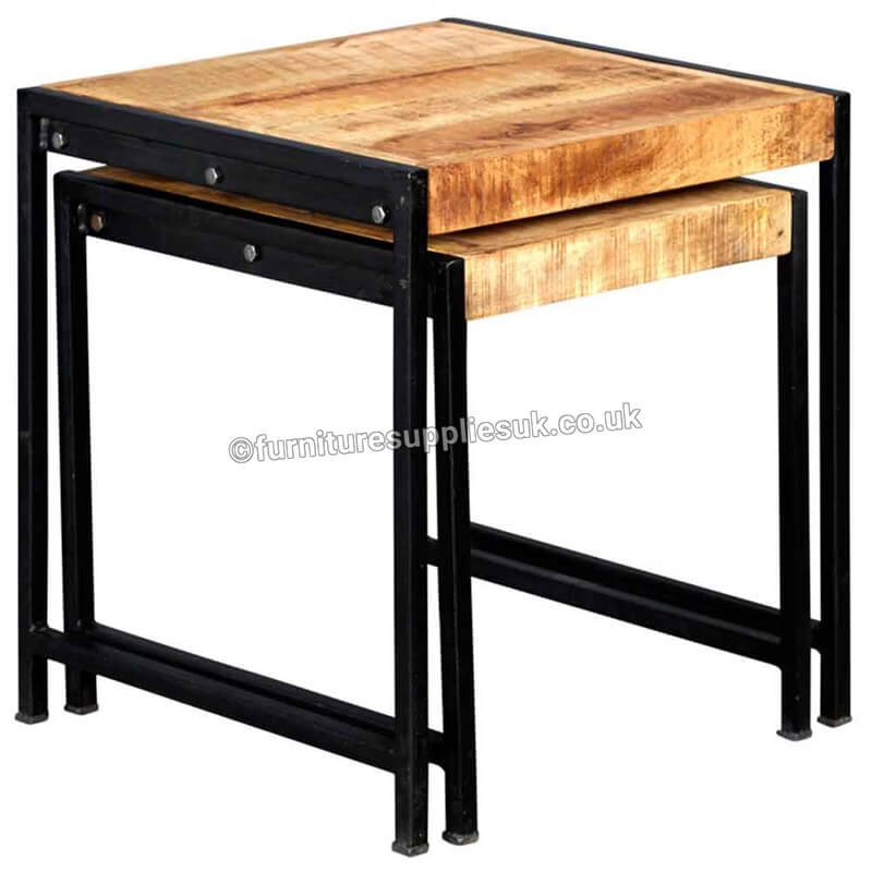 Cosmo Industrial Nest Of 2 Tables   Solid Wood  