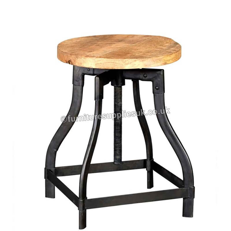 Cosmo Industrial Stool | Solid Wood |