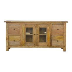 Country Style Media Unit with 4 Drawers & 2 Glazed Doors | Furniture Supplies UK