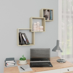 Cube Wall Shelves Sonoma Oak 84.5x15x27 cm Chipboard | Furniture Supplies UK