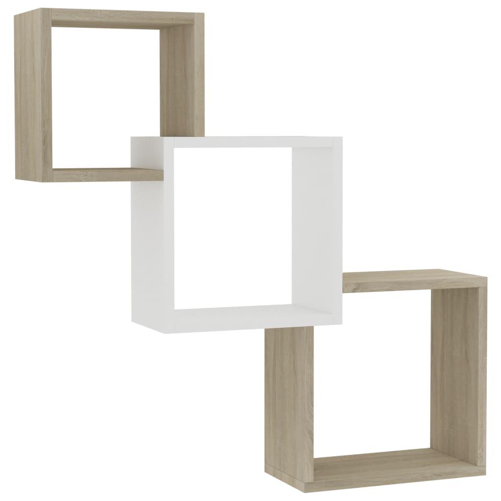 Cube Wall Shelves White and Sonoma Oak 84.5x15x27 cm Chipboard |  | Multicolour