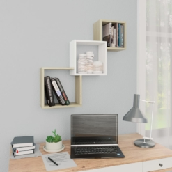 Cube Wall Shelves White and Sonoma Oak 84.5x15x27 cm Chipboard | Furniture Supplies UK