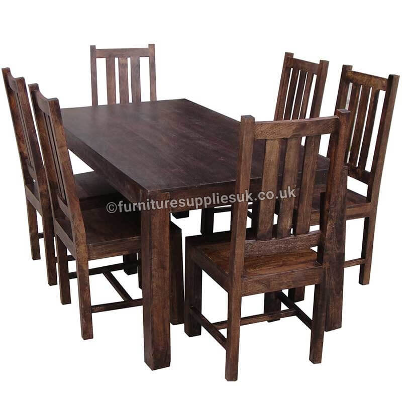 Dakota Dining Table With 4 Chairs 145cm | Solid Wood |