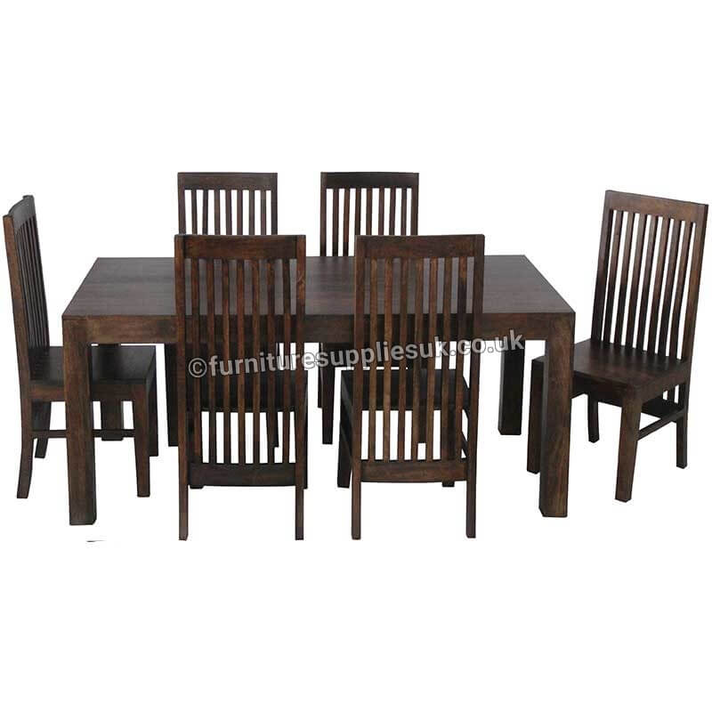 Dakota Large Dining Table With 6 High Back Chairs (175cm) | Furniture Supplies UK