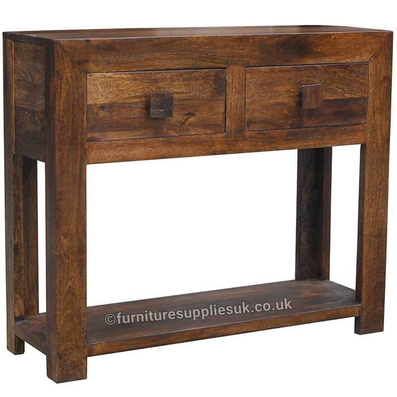 Dakota Mini Console Table With 2 Drawers   Solid Wood  