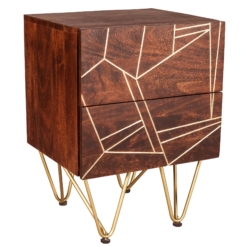 Dark Gold 2 Drawer Side Table | Furniture Supplies UK