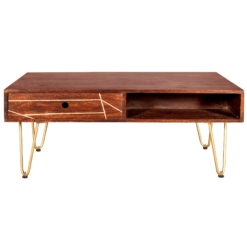 Dark Gold Rectangular Coffee Table with Drawer | Furniture Supplies UK