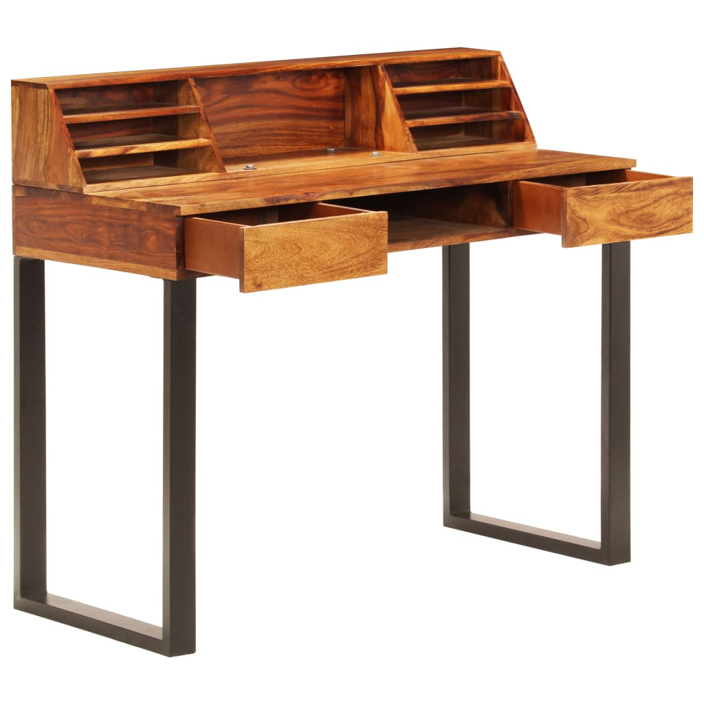 Desk 110x50x94 cm Solid Sheesham Wood and Steel |  | Brown