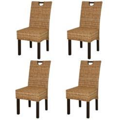 Dining Chair 4 pcs Kubu Rattan Mango Wood | Furniture Supplies UK